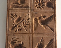 Primitive Folk Art Antique Rectangle hand Carved Wood Butter Cookie Pastry Mold Press Stamp W/ Coyote Road Runner Birds