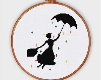 Mary Poppins nursery cross stitch pattern  Modern pop culture movie baby silhouette counted chart  Easy cute beginner instant download pdf