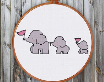 Elephant Family cross stitch pattern| Cute nursery baby animal counted chart| Easy beginner design instant download| Boy girl room diy decor