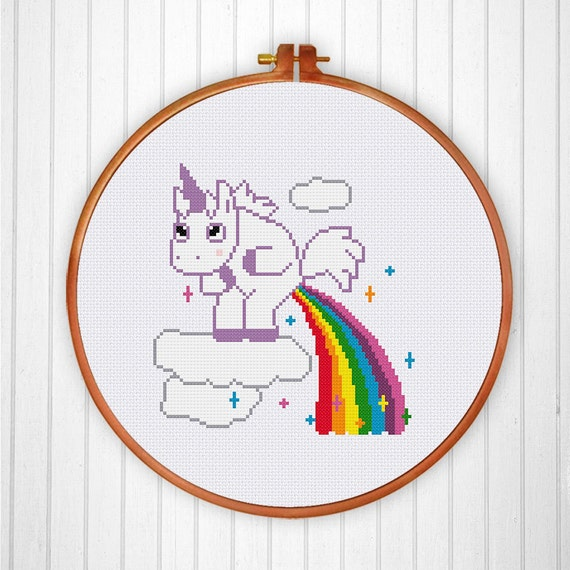 Unicorn Pooping Rainbow Funny Cute Modern Counted Cross