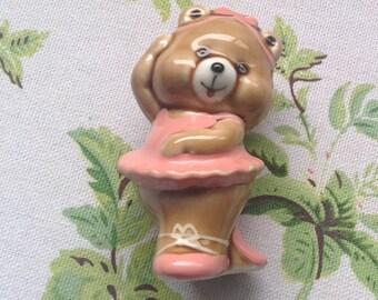 Vintage Teddybear Ballerina Figurine/Teddy Ornament/Ballet Bear/ Pink Tutu/Nursery Decor - 1980's