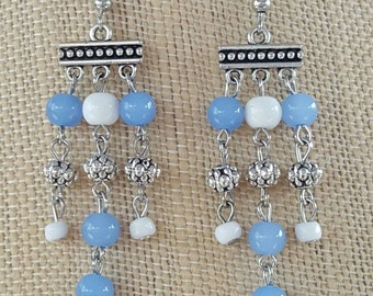 Blue and white multi strand earrings