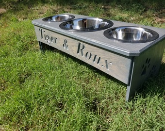 Elevated Wood Dog Bowl Stands Made In Texas By