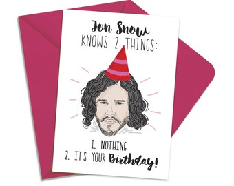 Printable Game of Thrones Card, Printable Jon Snow Birthday Card, You Know Nothing, Jon Snow Card, GOT Funny Printable Card INSTANT DOWNLOAD