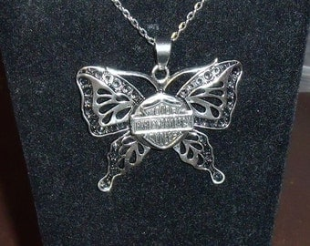 Large Butterfly Biker Necklace with Charm