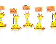 Set of 5 giraffe to Capucakes handmade cake topper  polymer (cold porcelain) With or Without name