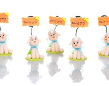 Set of 5 sheep to Capucakes handmade cake topper  polymer (cold porcelain) With or Without name