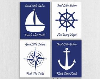 Nautical Bathroom Art Prints Set Of 4   Nautical Bathroom Decor   Wash  Brush Floss Flush