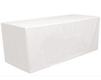 White 6' ft. Fitted Polyester Tablecloth Rectangular Table Cover For Wedding Banquet Party Trade Show
