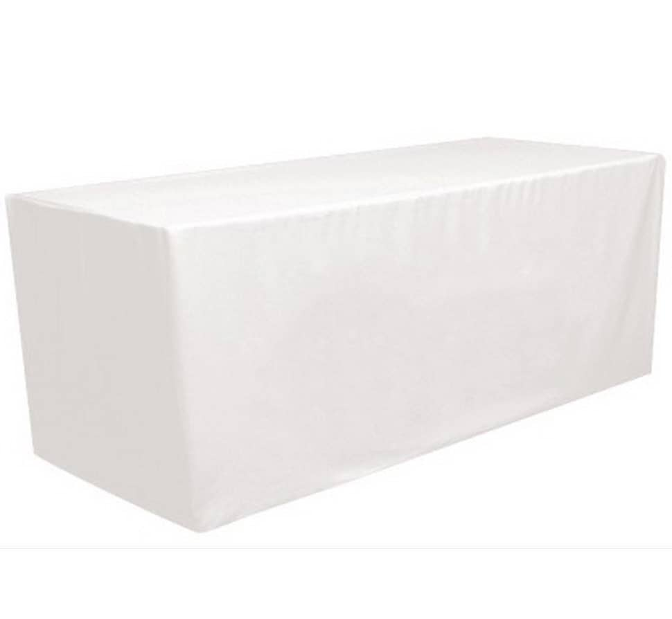 white 6 39 ft fitted polyester tablecloth rectangular table. Black Bedroom Furniture Sets. Home Design Ideas