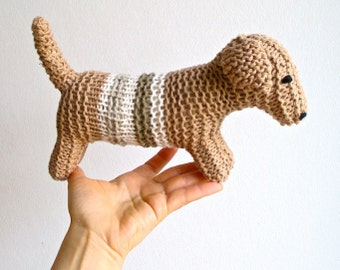 Dog, organic knitted long dog, dachshund, puppy, toy, animal, soft, color grown cotton, brown,