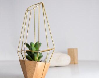 Elegante facettierten Holz Pflanzgefäß - geometrische Holz Messing Gem - für Sukkulente, Kakteen und Luft Pflanzen. Handgefertigt in EU