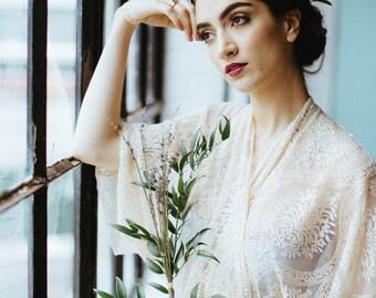 Love and Lace Bohemian, Long Lace Kimono Robe, Handmade