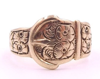 Vintage Men's 9ct Gold Ring | 9k Man's Buckle Ring | 9 Carat Victorian Style Ring | UK size R 1/2 ~ US size 9 | Hallmarked 1967