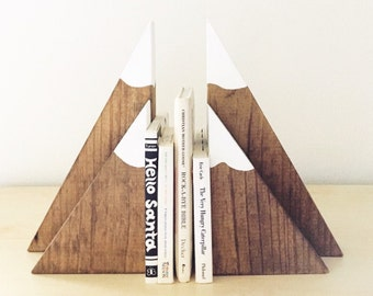 Stained Wooden Mountain Bookends (small set), mountain blocks, mountain decor, nursery bookends, children's bookends, woodland nursery