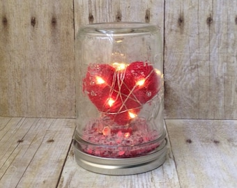 Mason Jar Snow Globe - Valentine's Day Heart with LED Lights (Pint Size) - Valentine's Day Decor