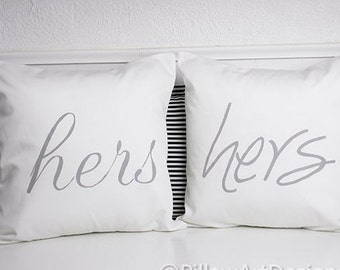 Hers and Hers Pillow Covers Grey and White Cotton 16 X 16 Fully Lined Made in Canada