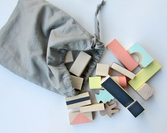 24 Wooden blocks in Mixed colours packed in cotton bag - Wooden toys - Building blocks - Wooden toddler toys - Handmade toys