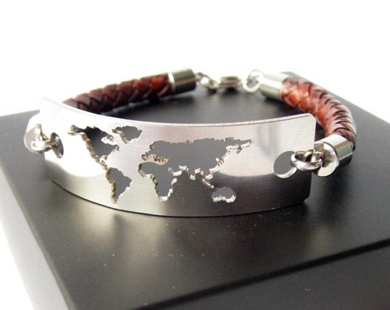 Items similar to Travel Bracelet Wanderlust Bracelet World Map – World Map Gifts For Travelers