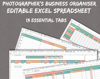 Photographer's excel planner, spreadsheets for business photography, excel organise business self-employed, photography planner