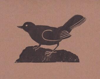 An A6 Greetings Card Lino Print of a Blackbird