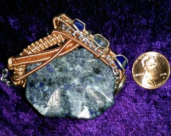 Sodalite with Lapis Lazuli and Copper with Silver Pendant
