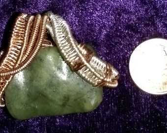 Jade and Copper with Silver Pendant