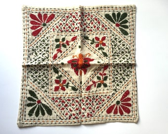 Hand Embroidered Calico Cushion Covers From India X 3