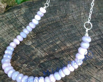 Beautiful lavender opal necklace with sterling silver chain and clasp