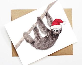 Sloth christmas card | Etsy