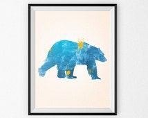Nursery Art Print Canvas - Nursery Watercolor Painting - Kid's Room - Children's Art - Nursery Canvas - Nursery Painting - Watercolor Animal