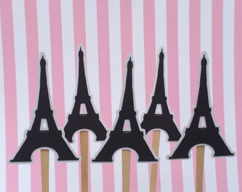 Eiffel Tower Cupcake Toppers, Paris Cupcake Toppers, Set of 12 Eiffel Tower Cupcake Toppers
