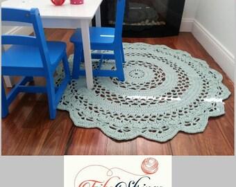 120cm Rug | Handmade Crochet Doily Rug | Crochet Rug | Round Rug | 47inches Rug | Crochet Mat