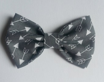 Gray Arrow Bow Tie - Baby // Toddler // Child - Clip On