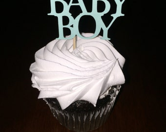 12 baby boy cupcake toppers, baby shower, gender reveal decorations.