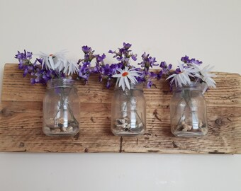 Mason Jars - Wood Mounted Jar - Reclaimed Wood - Handmade - Shabby Chic - Rustic Home Decor - Wall Vase -  Mason Jar on Wood