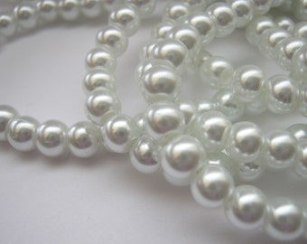"""50 White Pearls Beads 8mm (2.5/8"""") Round Glass Pearl Beads for Bridal Jewellery Making Beads Supplies"""