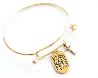 bangle bracelet for her - charm bangle gift for mom - handmade jewelry christmas gift - fear not bangle - personalized bangle bracelet