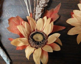 Sunflower and wheat boutonniere
