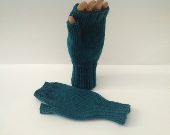 Fingerless mittens , texting gloves, driving gloves , Teal color thick, soft acrylic yarn