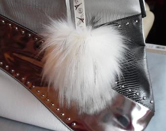 Size L ( 6'' ) Faux Fur Pom-Pom Bag Charm - Keychain
