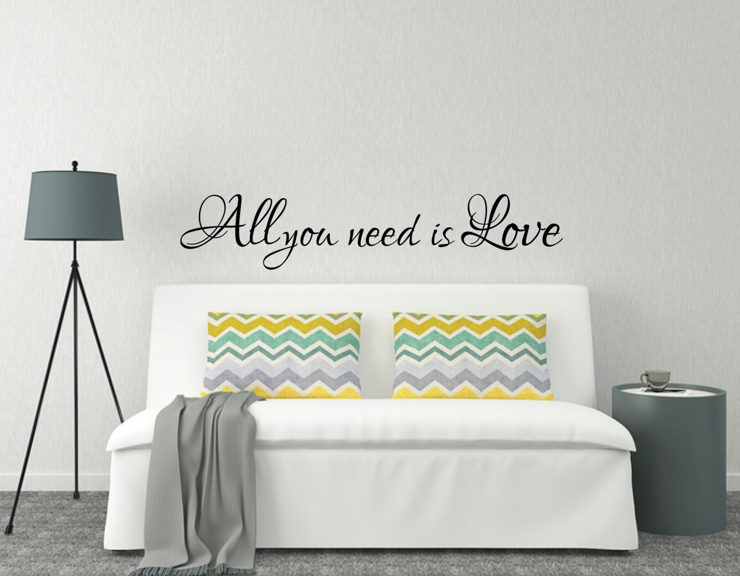 Above Bed Wall Sticker Love Quote All You Need Is Love L - Wall decals above bed