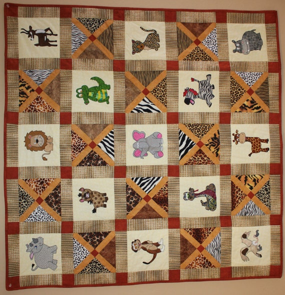African safari animal applique PDF baby quilt pattern; easy pieced X block quilt; animal print blocks; child's quilt pattern; elephant quilt