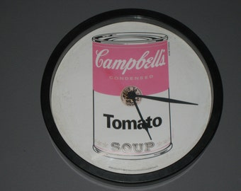 Campbell's Tomato Soup Clock/Warhol Campbell's Soup/Vintage Campbell's Soup Clock/Vintage Clock/Round Black White Red Electric Wall Clock
