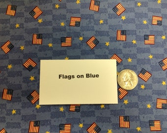 Flags on Blue Fat Quarters