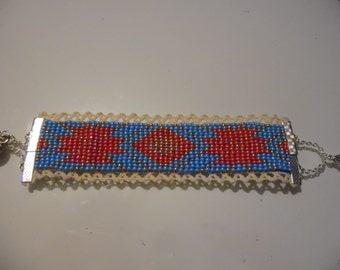 Woven cuff blue and coral
