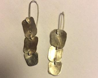 Sterling silver long earrings. Hand made dangle earrings