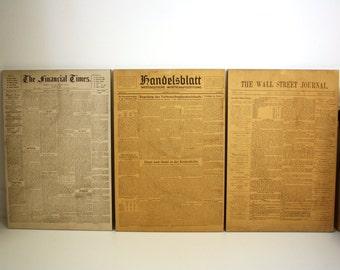 First edition covers financial times, Handelsblatt, the Wall Street Journal anniversary issue raised Handelsblatt