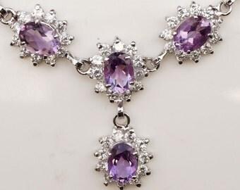 Necklace Gemstone Amethyst Cluster AD Zircon Sterling Silver 92.5% Handmade (e288)