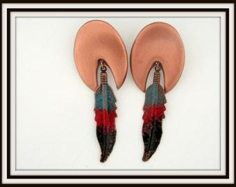 Estate copper and enamel SOUTHWESTERN design dangle pierced EARRINGS